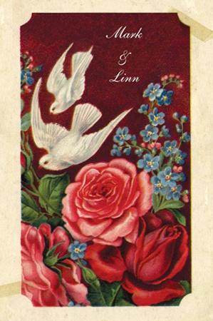 Wedding invitation from Lievekaarten.nl   Nostalgische trouwkaart met vintage prent van witte duiven