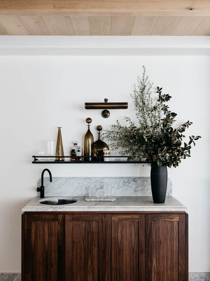 Moody marble wet bar inspo. Iluka House in Palm Beach, Sydney by Alexander & Co | Est Living Stories