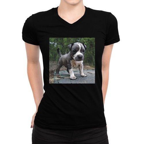 American Pitbull Terrier Puppy Women V-Neck T-Shirt