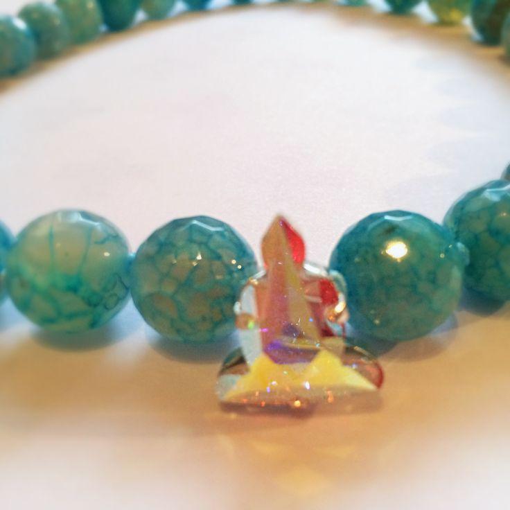 Mala para meditación en Agata azul