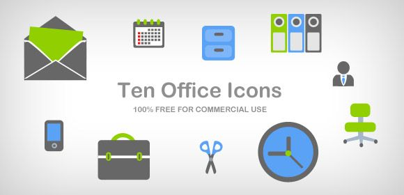 Collection includes 10 office icons which can be used for web, desktop and mobile. Suitable for corporate and business website, business media websites. You will get icon collection in minutes: case, calendar, manager, envelope, clock, office folder, office chair, scissors, locker, mobile phone. You may get PNG files with transparent background and use it straight on the web.