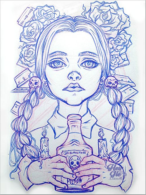 Distinctly Wednesday Addams-ish portrait illustration by HeirOfGlee