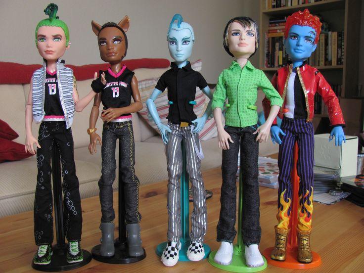 Monster High Boy Dolls, left to right: Deuce Gorgon, Clawd Wolf, Gillington Webber, Jackson Jekyll & Holt Hyde