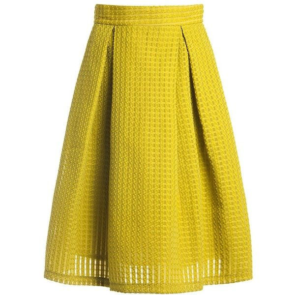 Sans Souci Mustard novelty full skirt ($15) ❤ liked on Polyvore featuring skirts, mustard green, checkered skirt, mustard skirt, green skirt, mustard pleated skirt and checkerboard skirt
