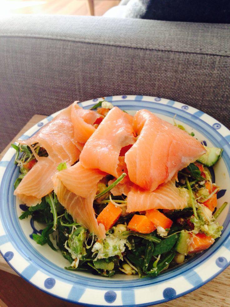 Paleo salad w smoked salmon and plenty of lemon