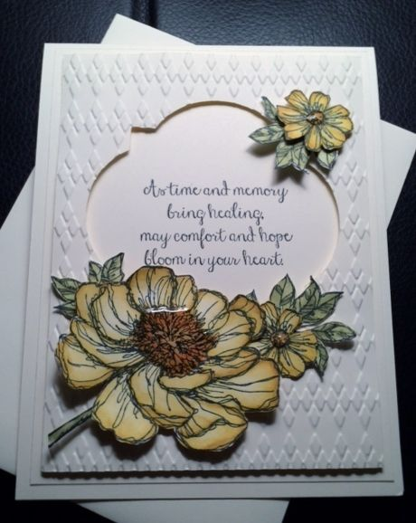 bloom with hope  by Lynda Emerson, This is one of the new Hostess Stamp Sets Bloom With Hope. I used Blendables and I'm sure I need lots more practice. Have a wonderful day and thank you for looking
