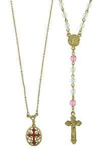 Pink Quinceanera Rosary & Necklace Gift Set $60.00 http://www.celebrateyourfaith.com/Pink-Quinceanera-Rosary-38--P7760C1735.cfm