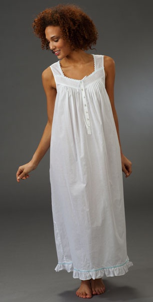 White cotton and lace nightgown