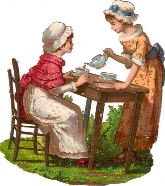 Victorian Die Cut Scrap Girls have Tea Party c1880