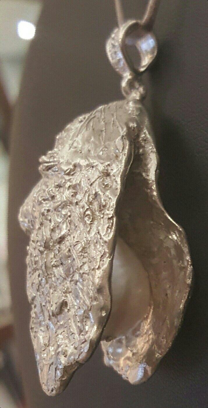 Pendente realizzato a mano con la tecnica della cera persa  argento 925/°°con perla australiana
