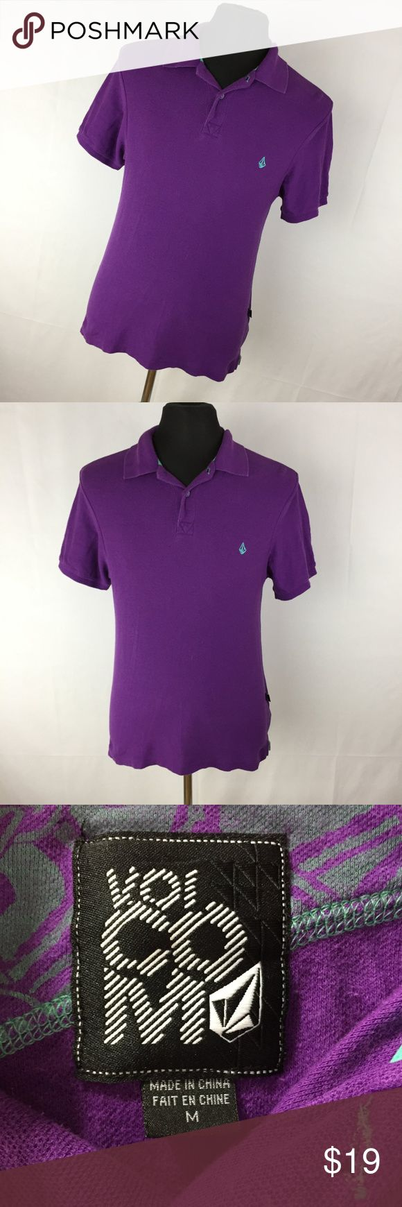 """Volcom Purple Polo Shirt M Medium Embroidered Logo This is a great classic style polo with the logo on the front.  Chest - 42"""" Length - 28""""  Excellent condition!  Free from flaws!  Smoke free home!  (H7) Volcom Shirts Polos"""