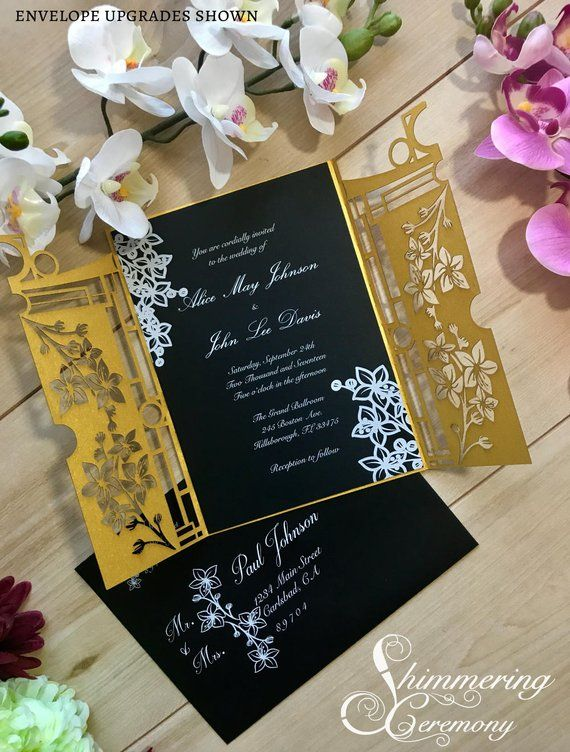 Partecipazioni Matrimonio Zen.Japanese Inspired Gatefold Wedding Invitation With Cherry Blossom