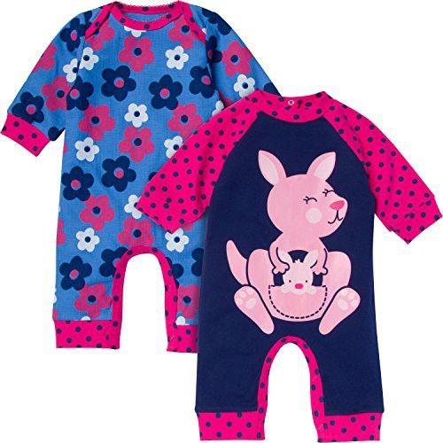 Gerber Baby-Girls Newborn Kangaroo 2 Pack Coverall, Kangaroo, 24 Months