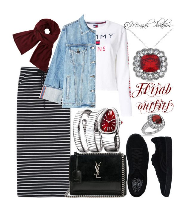#Hijab_outfits #modesty #Casual #feminine #Tommy_jeans by mennah-ibrahim on Polyvore featuring polyvore fashion style Tommy Hilfiger Frame WithChic Puma Yves Saint Laurent Bulgari Allurez John Lewis clothing