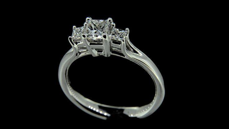 'Beth Sapphire' -- Pretty Square Cut Sapphire & Princess Cut Diamond Ring with Sweep Shoulder detail in 18ct White Gold - Sapphire Wt. 0.70ct; Diamond Wt. 0.15ct.