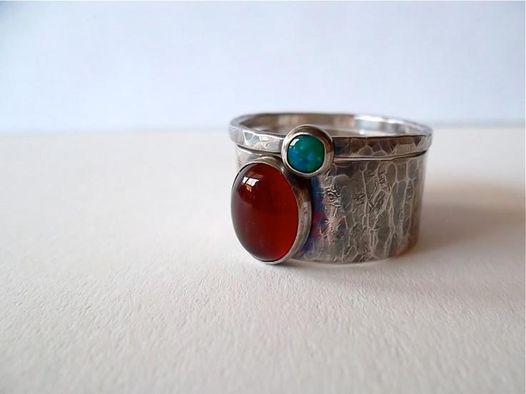 8x10 carnelian, 4mm lab grown opal...feminine, rustic
