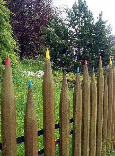 Colored pencil fence; put in back of garden near wall  (Would be a cute fairy garden fence made with short colored pencils)