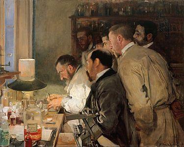 Una investigación es un obra realizada en óleo sobre lienzo. La pintura muestra el interior del laboratorio del neurólogo Luis Simarro, amigo y médico de la familia de Sorolla.
