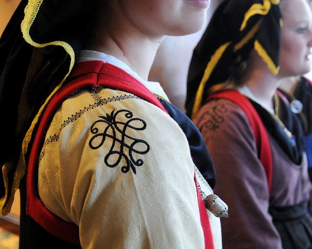 Some of the most beautiful and exquisitely detailed costumes seen at the 2010 Hellenic Dance and Choral Festival were those worn by the Hellas Dance Troupe of Charleston, South Carolina. These dresses are typical of traditional attire in the town of Metsovo in Epirus, or Epiros.