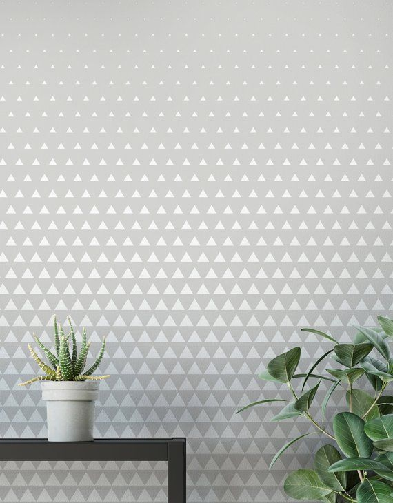 Grey And White Geometric Removable Wallpaper Peel And Stick Etsy In 2020 Geometric Removable Wallpaper Removable Wallpaper Self Adhesive Wallpaper