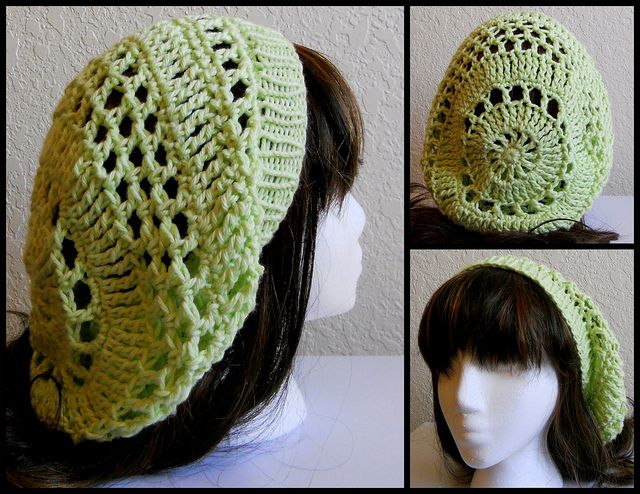 Green Crochet Hat w/ KNIT Band by StrangeKnits, via Flickr-free pattern on Ravelry-I would have to make the band in crochet