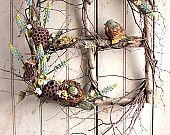 Spring Muscari Window - Spring Summer Wreath - Birch Window - Nest