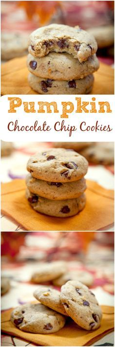 Pumpkin Chocolate Chip Cookies: Soft and chewy chocolate chip cookies studded with a generous amount of melty chocolate chips.