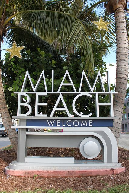 Miami Beach Welcome sign , South Beach Miami, Florida, favoriete vakantiebestemming