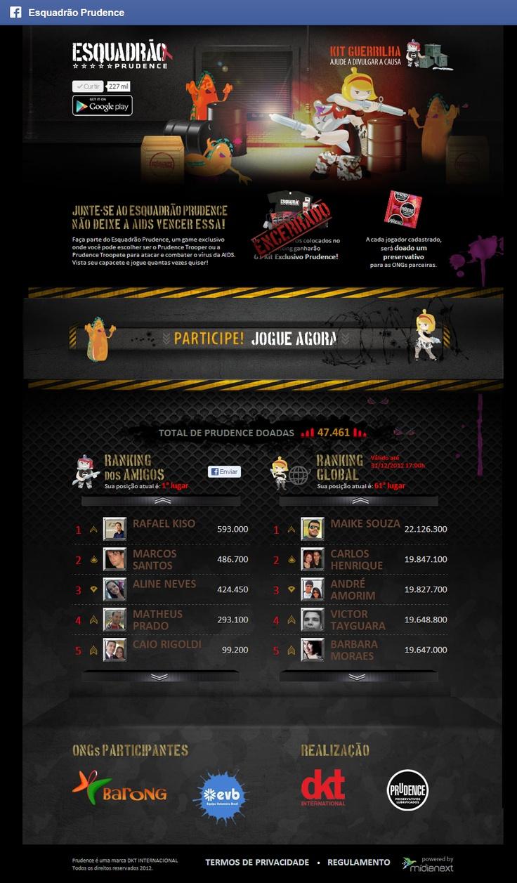 App para Facebook - Campanha Esquadrão Prudence para combater a AIDS. A cada jogador uma Prudence doada. www.esquadraoprudence.com.br