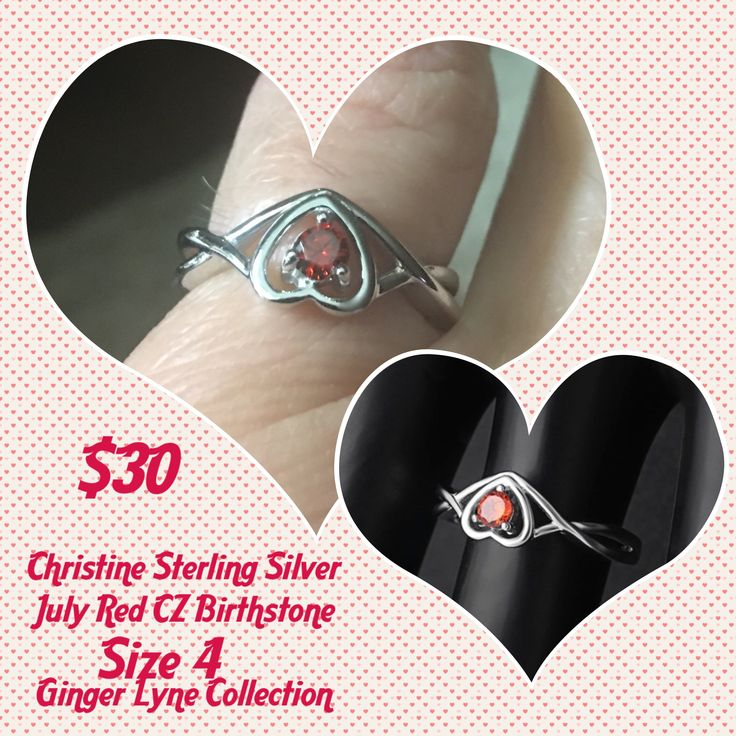 Size 4 Sterling Silver Red Ruby- $30