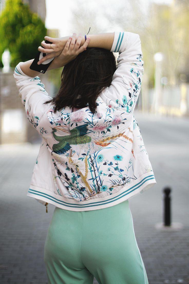 Fashion Blogger Floral Bomber Aquamarine Palazzo Pants Sporty