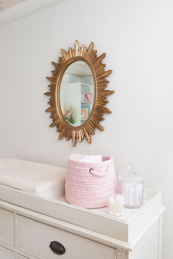Gold sunburst mirror - love this touch in a glam nursery! #nursery #decorNurseries Decor, Manhattan Nurseries, Apartments Therapy, Profession Projects, Sunburst Mirrors, Pink Nurseries, Change Tables, Projects Nurseries, Baby