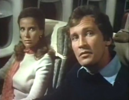 """""""The Horror at 37,000 Feet"""" (1973) is an ABC Movie of the Week fright film that takes place in an airplane.  It has a host of stars including: Chuck Connors, Lynn Loring, William Shatner, Roy Thinnes, Paul Winfield, Jane Merrow, Russell Johnson, Buddy Ebsen and Tammy Grimes."""