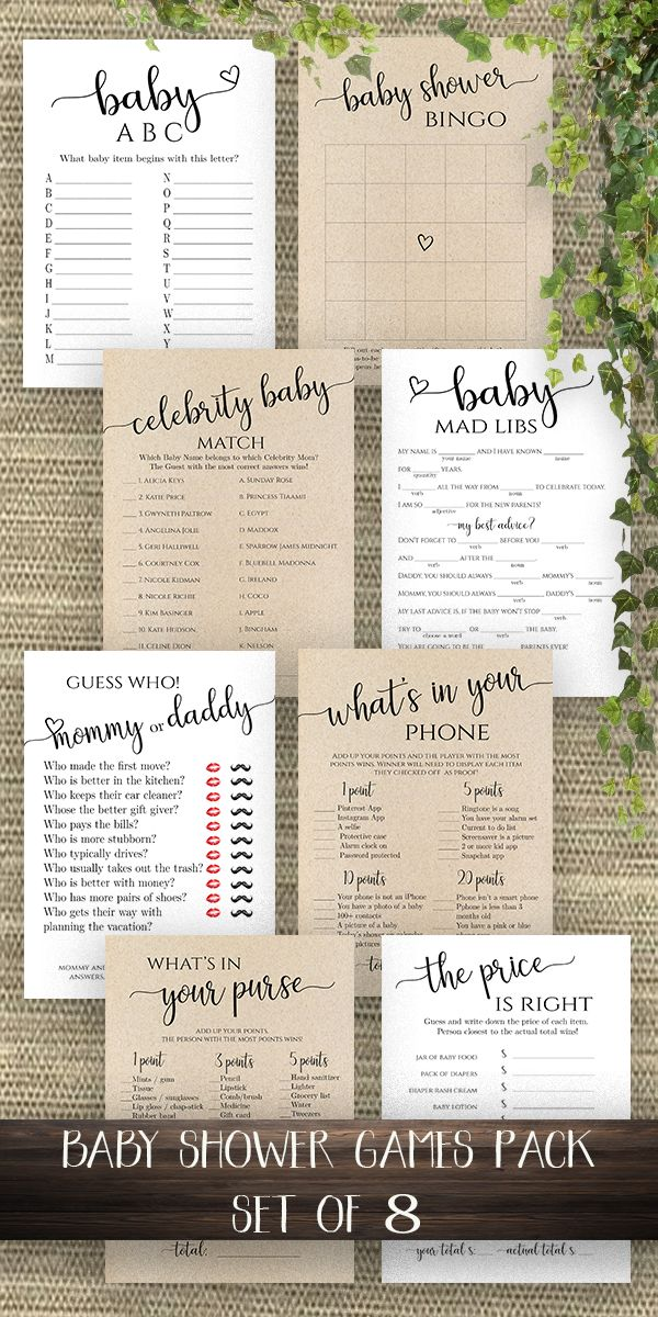 Baby Shower Games Template Set Of 8 Modern Baby Shower Game Cards