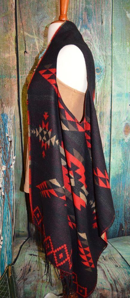 CHEYENNE AZTEC Tribal VEST Fringe Cowgirl Gypsy Boho Western Southwest One Size…