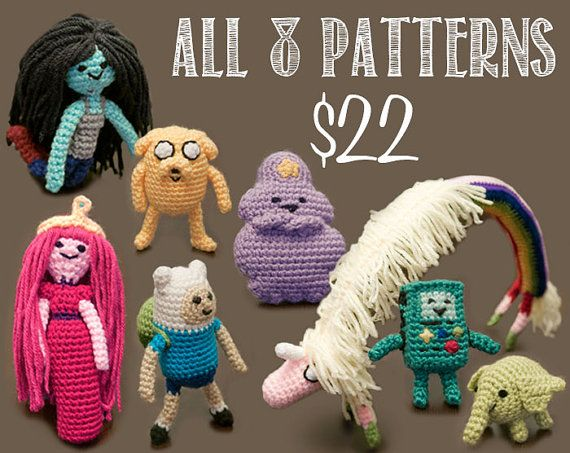 Eight Adventure Time Crochet Patterns - crazy discount bundle! (I've finally learned to pin from my blog!) Amigurumi Doll Dolls Crochet Bundle Sale http://crochetfordays.wordpress.com/2013/12/23/eight-adventure-time-patterns-for-22