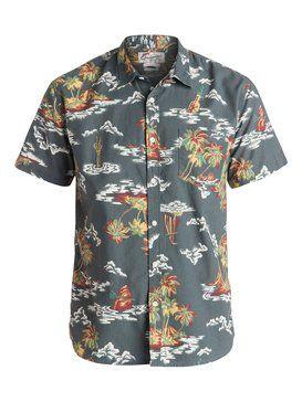 quiksilver, Island Apocalypse Short Sleeve Shirt, SHADOW ISLAND APOCALYPSE (krp6)