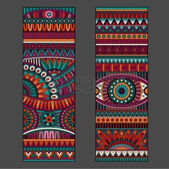 tissu aztèque: Vecteur décoratif cartes de motif ethnique Résumé ensemble