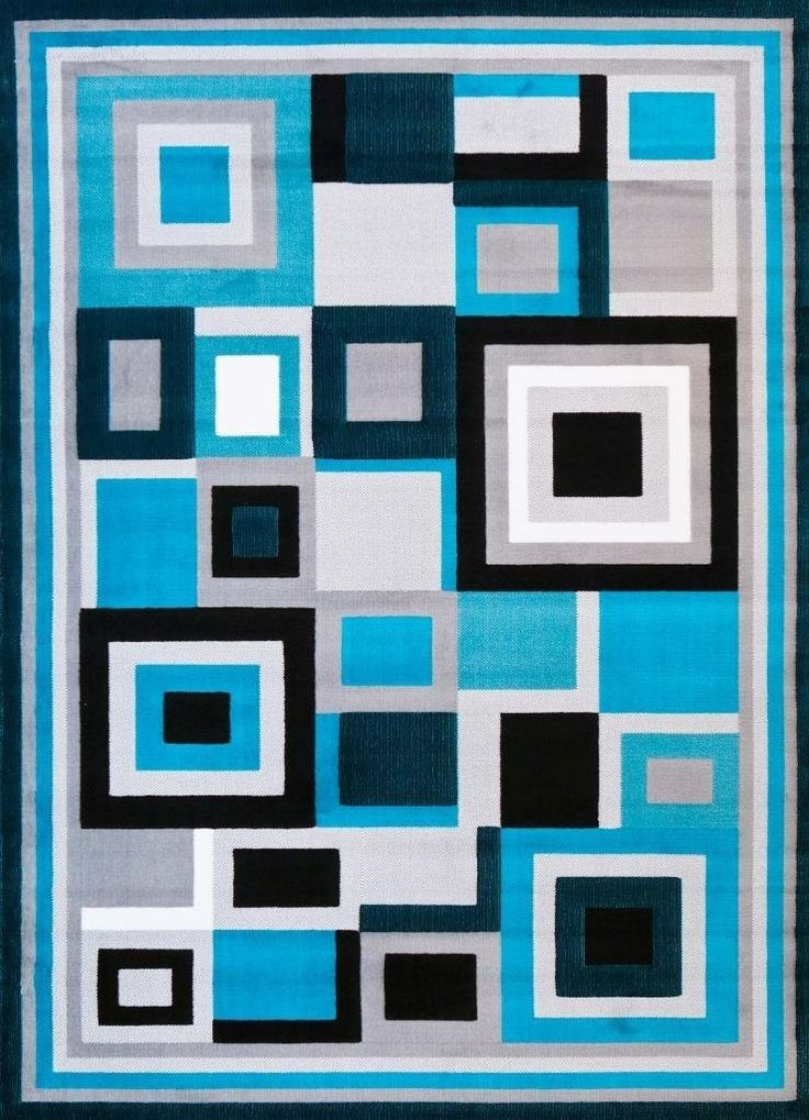 5058 Turquoise Square Contemporary Area Rugs