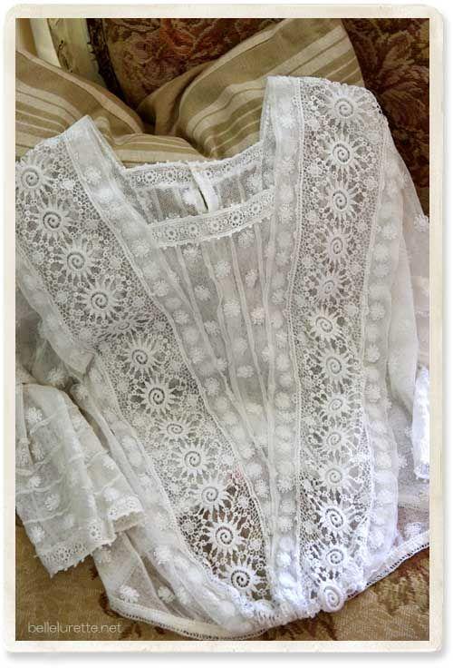 Античная тюль кружева блузка - [Белл Lurette] Европа Франция античный кружева белье одежда почте