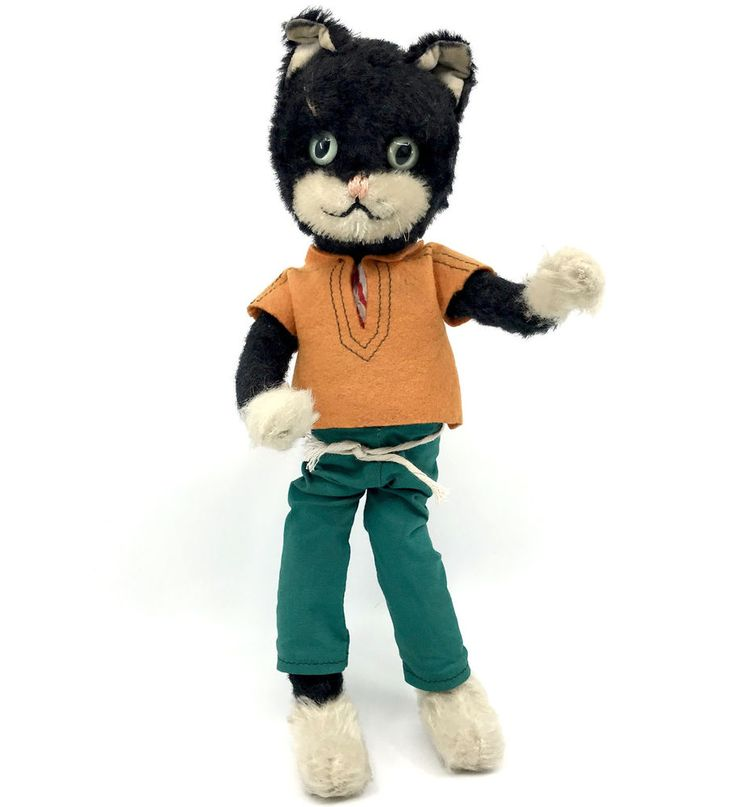 Schuco Tom #Cat Bendy Doll Mohair Plush #BigoBello 1960s 28cm 11in Dressed Vtg #Schuco AllOccasion