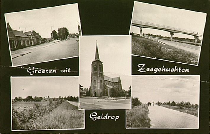 Collages van vijf foto's van de gemeente Zesgehuchten. Jos Pé (fotograaf) 1960 - 1970