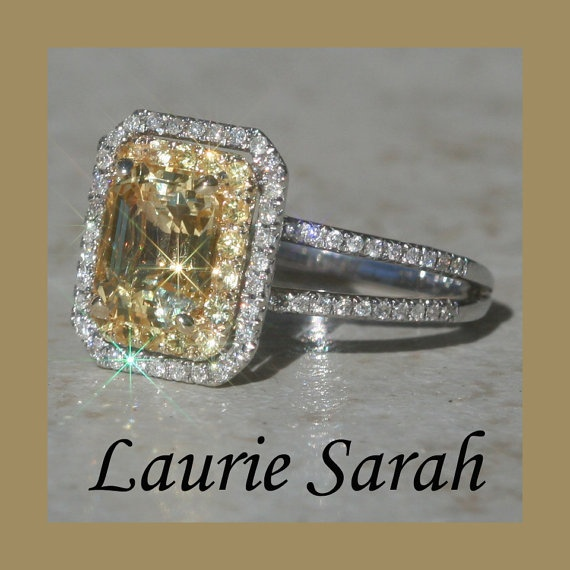 Yellow asscher cut sapphire and diamond ring $1944