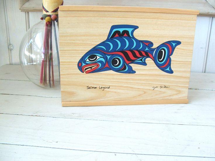 Salmon Legend Wooden Box Joe Wilson by lookonmytreasures on Etsy