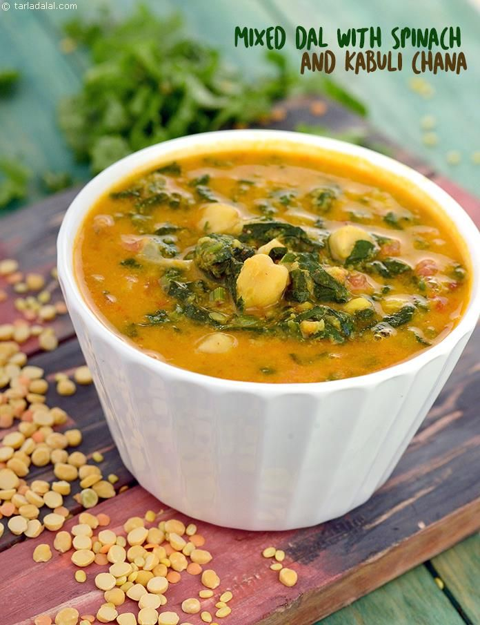 Mixed Dal with Spinach and Kabuli Chana recipe