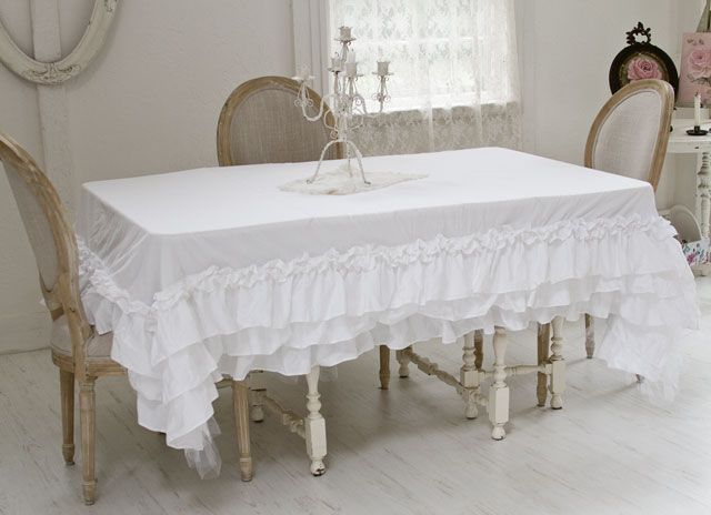 Ruffled tutu tablecloth, shabby chic linens, cotton linens, tableware,