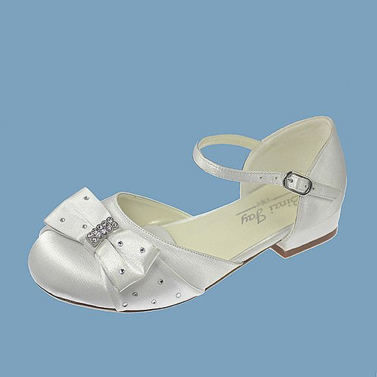 new first communion shoes 2015 | White Satin Open Waisted First Communion Shoes with Bar and Diamonte ...