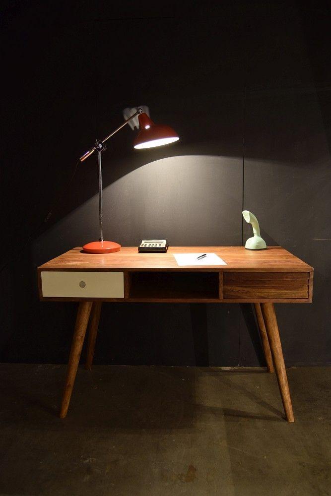 Schreibtisch Vintage Oslo Massivholz Sheesham 120 Mid Century In
