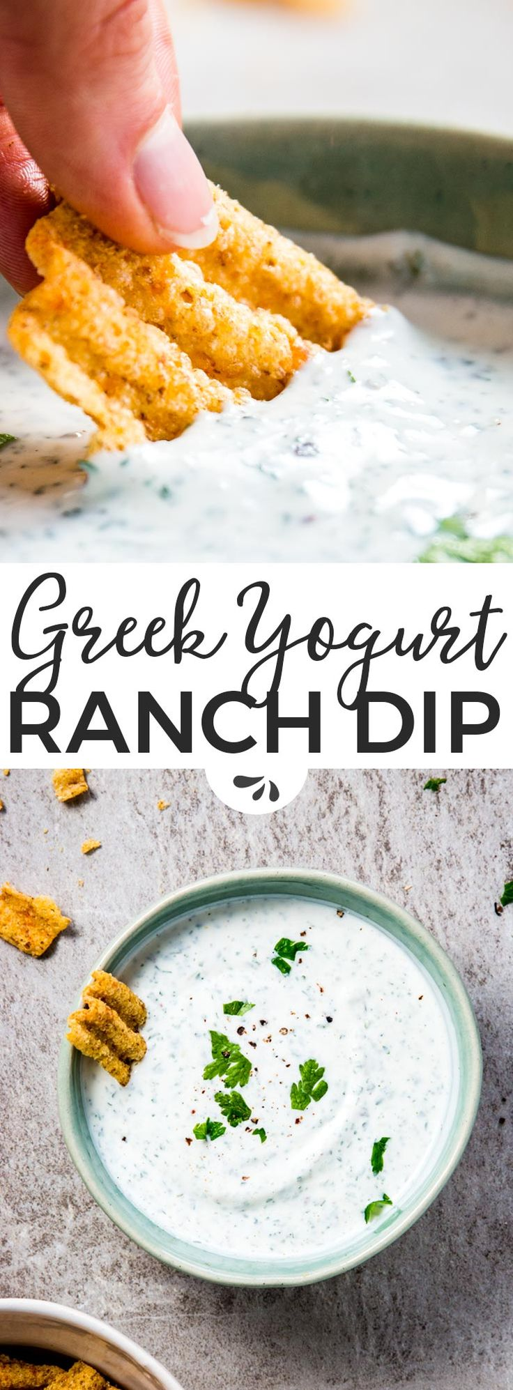 Greek Yogurt Ranch Dip: The easiest Super Bowl food for that moment you realise you promised to bring something to the party... But totally forgot! Just stir together a few basic ingredients and let it sit in the fridge until you're ready to run. The best last minute football party snack idea! | #recipes #food #dip #footballfood #appetizer #easyrecipes