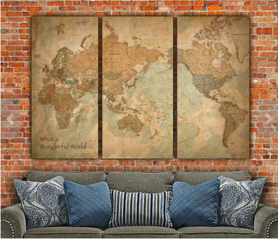 World Map WITH COUNTRIES Canvas Art. Map art, Vintage Map, Vintage art, Map of World, World Map Wall art, optional push pin, map poster